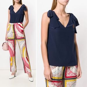Tory Burch Tie V-neck Top in Navy Blue 2 NWT